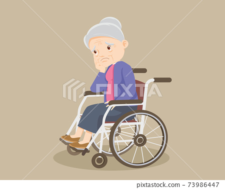 sad alone grandmother on wheelchair 73986447