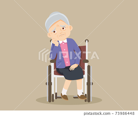 sad alone grandmother on wheelchair 73986448