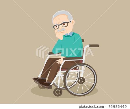 sad alone grandfather on wheelchair 73986449