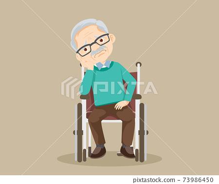 sad alone grandfather on wheelchair 73986450