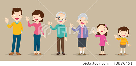 happy family and kids showing okay sign gesture 73986451