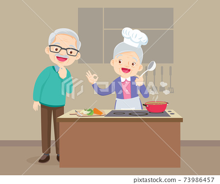 elderly man looking to elderly woman cooking in kitchen 73986457