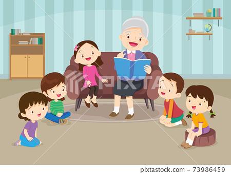 children listen grandparents reading on sofa 73986459