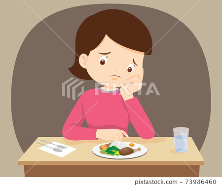 woman Bored with food 73986460