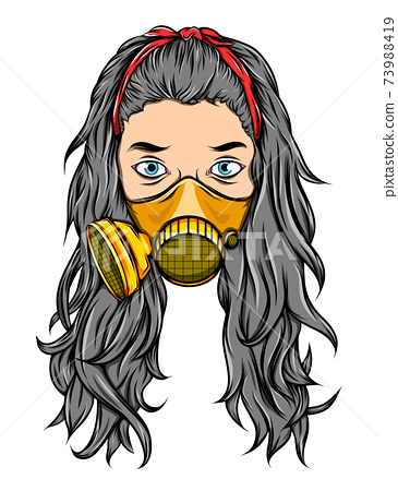 The tattoos of the long hair female using the golden breathing mask 73988419