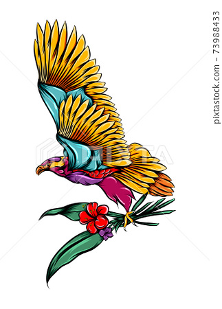 The beautiful color of eagle holding some flower stalks 73988433