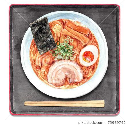 Ramen-Black tray (watercolor illustration) 73989742