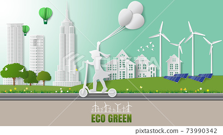 Green sustainable energy ecology development, environment friendly concept. Child riding electric scooter in park beautiful city nature background. 73990342