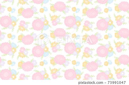 非洲菊與玫瑰色的無縫模式 73991047
