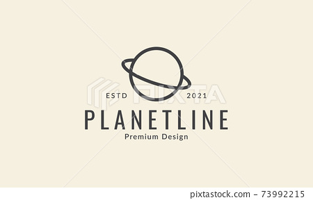 circle planet with ring line simple logo symbol icon vector graphic design illustration 73992215