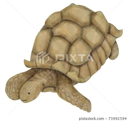 巨型烏龜的手繪插圖的材料 73992594