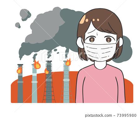 工廠消防黑煙面具女人 73995980