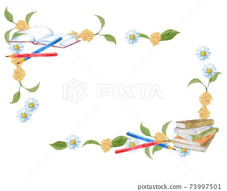 書本,鉛筆和花框 73997501