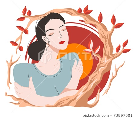 Female character portrait and autumn branch vector 73997601