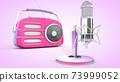 Studio microphone and retro radio. 3D rendering 73999052