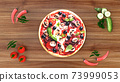 Pizza with salami and olives, advertising background. 3D rendering 73999053
