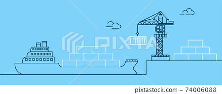 Crane lifting container with cargo ship on shipping port. Freight transport and logistics concept. Thin line art vector illustration. 74006088