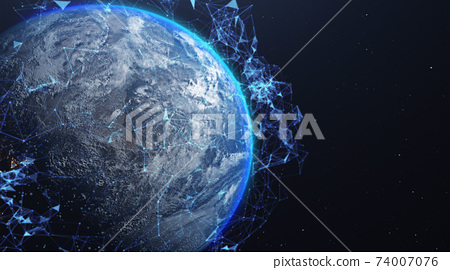 A networking concept. Global digital connections. Elements of this image furnished by NASA. 3d illustration 74007076
