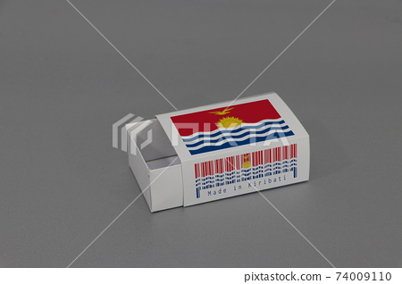 kiribati flag on white box with barcode and the color of nation flag on grey background 74009110