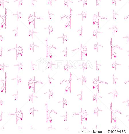 Pole dance seamless hand drawn pattern. Pole dancer's silhouettes. 74009488