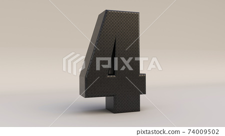 3d Number four icon made of black metal, 3d render illustration. 74009502