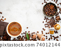 Background of various coffee , dark roasted coffee beans , ground and capsules with scoops setup on white concrete background with copy space. 74012144