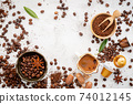 Background of various coffee , dark roasted coffee beans , ground and capsules with scoops setup on white concrete background with copy space. 74012145