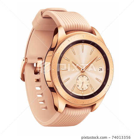 Black and Rose Gold Smartwatch Isolated. Side View Modern Track Activity Accessories Wristband Watch. Sports Fitness Fitnessband. Golden Smart Watch with Display & Pink Strap. Smart Tracker Watch 74013356