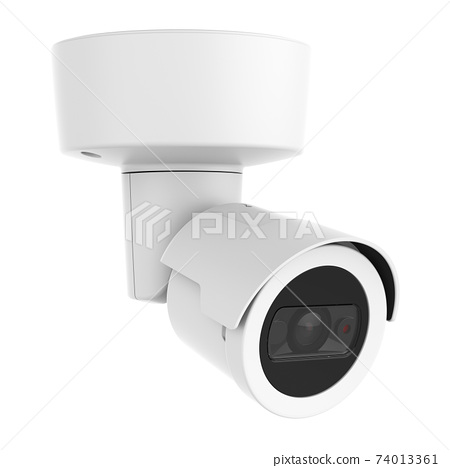 4MP Outdoor Security IP Bullet Camera Isolated. Wall & Ceiling Mounted Camera with Built-in IR. CCTV Closed Circuit Television Camera. Surveillance System. Electronic Device. Digital Equipment 74013361