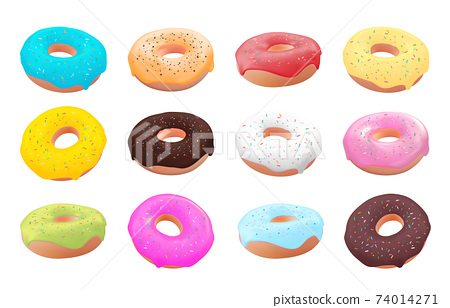 Collection Set of Realistic 3d sweet tasty donuts with different cilour icing. Vector illustration EPS10 74014271