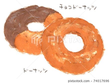 甜甜圈和巧克力甜甜圈的水彩插圖 74017696