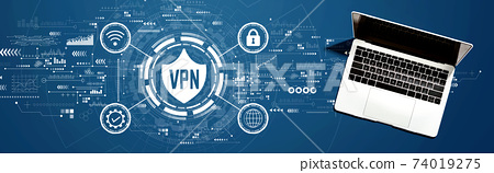 VPN concept with a laptop computer 74019275