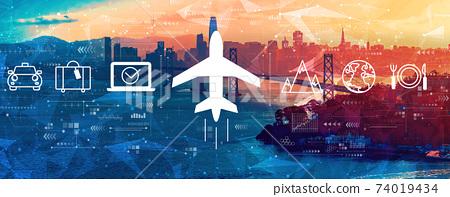 Flight ticket booking concept with the Bay Bridge in San Francisco 74019434