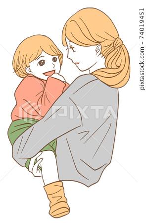 Mom rubbing baby (simple color version) 74019451