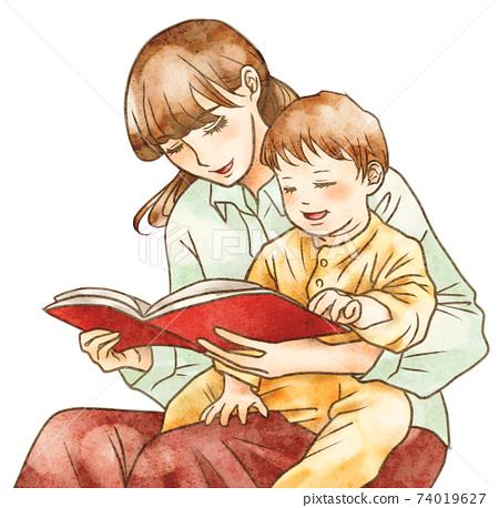 媽媽向孩子大聲朗讀 74019627