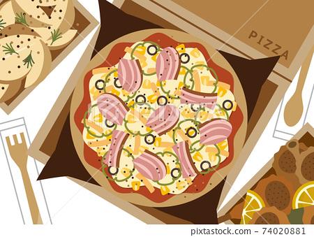 택배 피자 일러스트 74020881