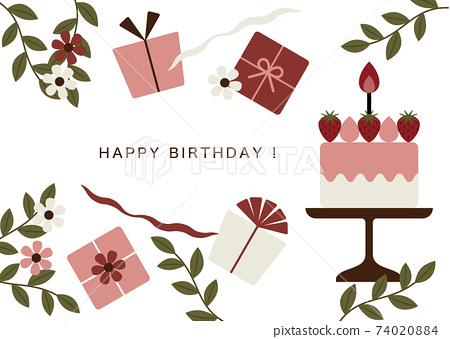 생일 케이크와 선물 카드 74020884