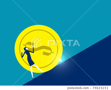 Businesswoman moving the huge gold coin to the top. Financial growth 74023231