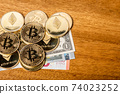 Bitcoin and ethereum and Euro Dollar bills 74023252