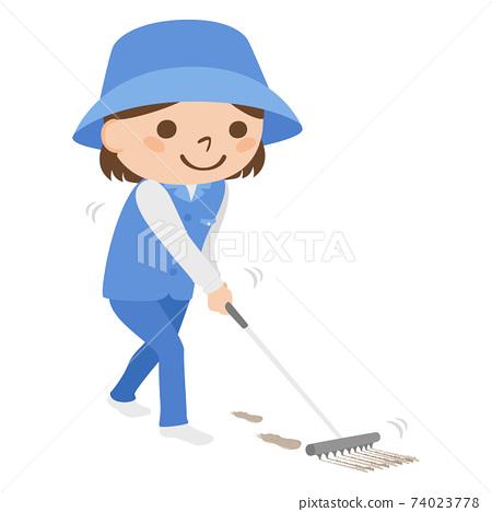 球童路線女性高爾夫球例證工作。一個女人用耙子清理一個有鞋痕的shoe堡。 74023778