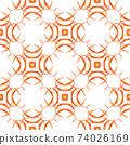 Hand drawn tropical seamless border. Orange 74026169