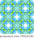 Ikat repeating swimwear design. Green unusual 74026185