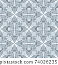Watercolor medallion seamless border. Black and 74026235