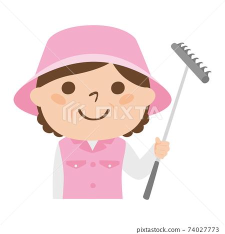 球童路線女性高爾夫球例證工作。一名女子,耙子用在高爾夫球沙坑中。 74027773