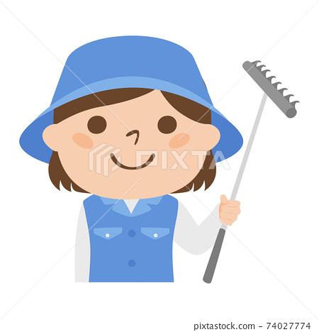 球童路線女性高爾夫球例證工作。一名女子,耙子用在高爾夫球沙坑中。 74027774