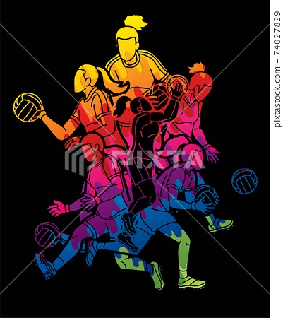 Group of Gaelic Football Women Players Action Cartoon Graphic Vector. 74027829