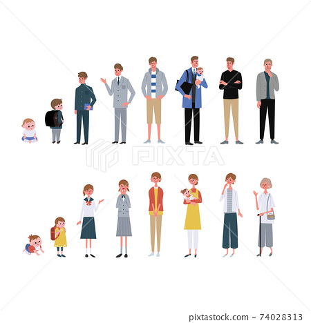 Illustrations of a large number of men and women by age 74028313