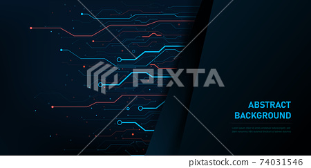 Abstract background electronic print circuit dot and line 005 74031546