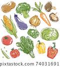 Hand drawn illustration set of retro vegetables 74031691
