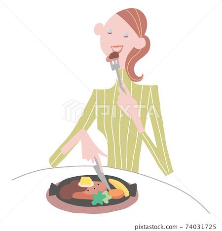 年輕女子獨自吃飯 74031725